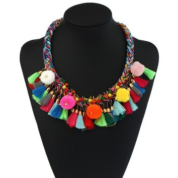 Fashion Necklaces For Women Bohemian Colorful Fur Ball Tassel Choker Necklace for Women Fashion Gothic Tattoo Jewelry Collar