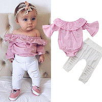 Newborn Infant Kid Baby Girl Top Romper Bodysuit Ripped Pants Outfit Clothes Set