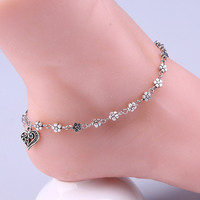 Summer Women Silver Bead Chain Anklet Ankle Bracelet Barefoot Sandal Beach Foot Jewelry (Color: Silver) [10586140628]