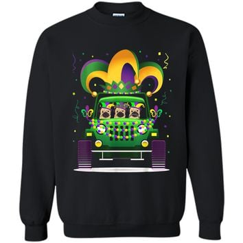 Funny Pug Riding Jeep Lover Mardi Gras Hat Beads  Printed Crewneck Pullover Sweatshirt
