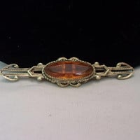 Victorian Revival Amber Glass Cabochon Rhinestone Design Gold Plate Metal Vintage Bar Brooch Pin