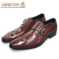 Men Dress Shoes With Buckle Slip On Fashion Causal Genuine Leather Shoes For Men Wedding Party