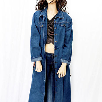 80s Denim duster / size S / M / vintage 1980s long jean coat / maxi dress / boho retro grunge long denim duster coat / jacket
