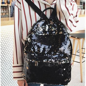 Girls bookbag Fashion Sequins Women Leather Shiny Backpack Bling Female Mochila Girls Glitter School Bags Shine Shoulder Bag Paillette Bookbag AT_52_3