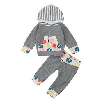 2 Pcs Autumn Baby Girl Warm Hoodie Clothing Set