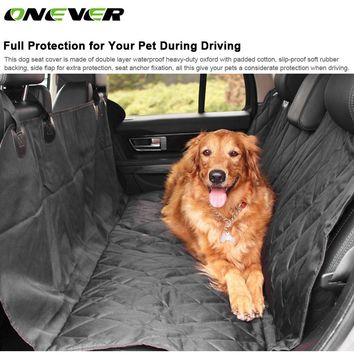 Onever Universal Car Seat Protector Cover Pet Dog Rear Seat  Backseat Cover Slip-proof Waterproof  Dog Pet Seat Covers For Cars