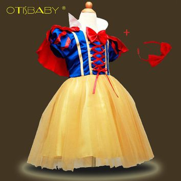 4PCS Children Girl Snow White Dress for Girls Prom Princess Dress Kids Baby Gifts Intants Party Clothes Fancy Teenger Clothing