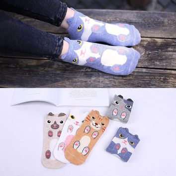 Animal Ears Foot Cute Dogs Cat Socks Funny Crazy Cool Novelty Cute Fun Funky Colorful