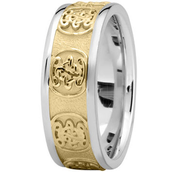 Wedding Band - Engraved Celtic Mens Wedding Band in White and Yellow Gold