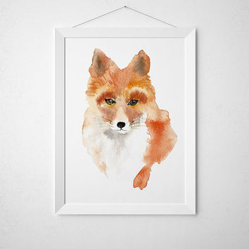 Watercolor poster Nursery print Cute fox art ACW47