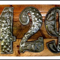 "3 Address Numbers, House Number Sign, Metal Numbers, Address Sign, Pallet Wood, 9"" x 14 3/4"", Reclaimed Wood, Address Plaque, A3-3-ST-TL-GL7 - Edit Listing - Etsy"