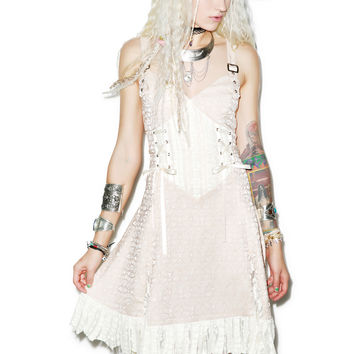 Jawbreaker Victorian Vixen Brocade Dress Cream
