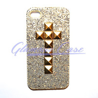 iPhone 4/4S Gold Cross Studded Gold Glitter Case