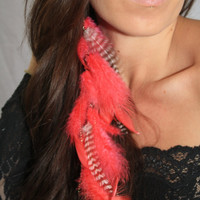 """To Attract Love, Hot Pink, Sparkle Valentine, Handmade Long Single Chain Feather Earring, or Feather Extension Hair Clip, 12"""", You choose"""