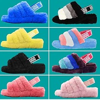 UGG Slippers Warm and fluffy New Women's Fashion Fluff Yeah Keep Warm Leisure Hight Quality Slipper Slide Shoes