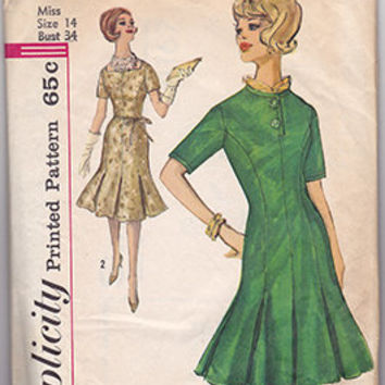 Simplicity 4167 Sewing Pattern Retro 60s Dress Princess Seam Low Flare Inverted Pleat Skirt Short Sleeve Mad Men Style Bust 36