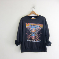 Vintage faded black Milwaukee Iron sweatshirt. washed out Harley Davidson Motorcycle distressed sweatshirt.