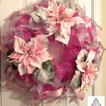 Wintery Snowy Silvery Pink Poinsettia Deco Mesh Wreath