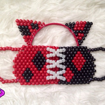 Harley Quinn Ears and Mask Kandi Set, Harley Quinn Cosplay Accessories, Harley Quinn Inspired Kandi, EDM Rave Kandi Cat Ears, Rave EDC Wear