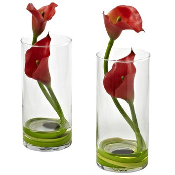 Artificial Flowers -Double Calla Lily With Cylinder -Set Of 2 Arrangement No3