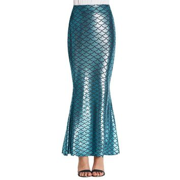 Mermaid Scales Long Skirt High Waisted Stretchy