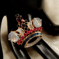 Vintage Crown Trifari  Moonglow Cabochon and Multi-Coloured Rhinestone Crown Brooch