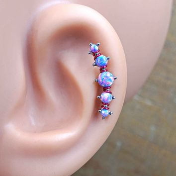 5 Purple Opal Cascading Cartilage Earring