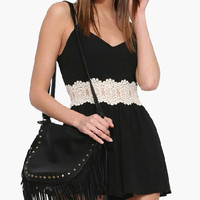 Black Sleeveless with Crochet Lace Accent Romper