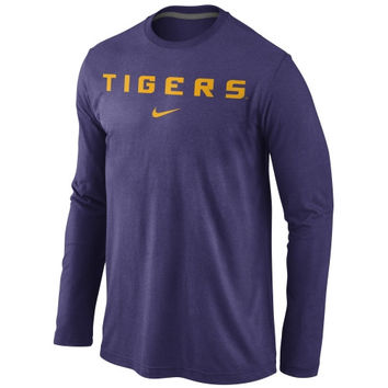 LSU Tigers Nike Wordmark Long Sleeve T-Shirt - Purple