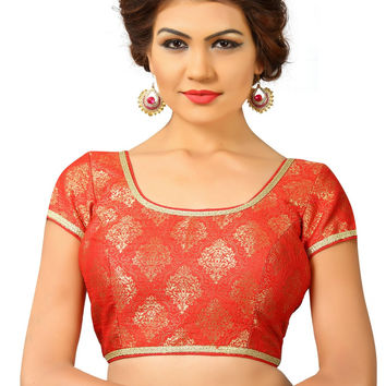 Saris and Things Red Brocade Fancy Back Open Saree Blouse Choli SNT-X-358-RED