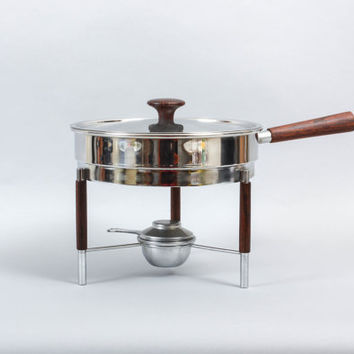 Italian Chafing Pan Stainless Steel and Rosewood Mid Century Modern Italy