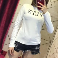 """Valentino"" Women All-match Fashion Letter Long Sleeve Turtleneck T-shirt Bottoming Tops"