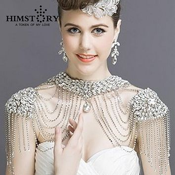 Luxurious Vintage Crystal Bridal Necklace Chain Tassel Shoulder Jewelry