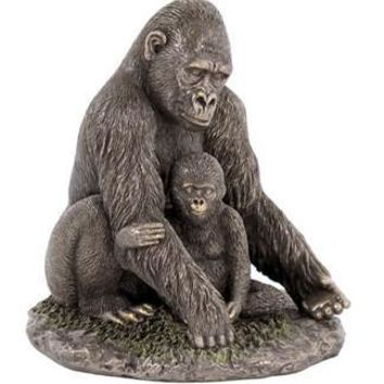 Mother Gorilla Cuddling Her Baby Bronze Finish Statue