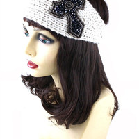 Crystal Beaded Cross Charm Knitted Winter Headwrap - M