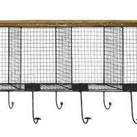 Wood Metal Wire Mesh Wall Pocket With Seven Metal Hooks