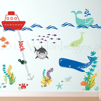 Shark and whale nursery wall decal, nursery decals, ocean wall decal, sea wall decal, nautical wall decal, kids wall decal, underwater decal