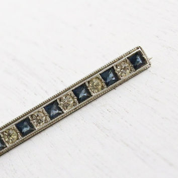 Antique Art Deco Bar Pin - Vintage Sterling Silver Clear & Blue Rhinestone Jewelry / Sapphire Blue Accents