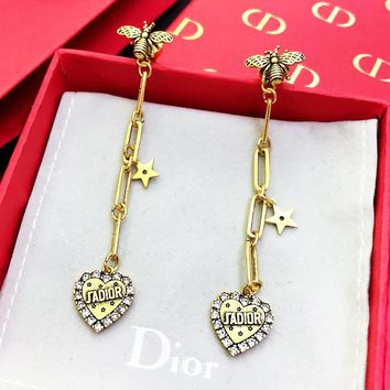 Dior Classic Popular Women Luxury Bee Heart Pendant Earrings Accessories Jewelry