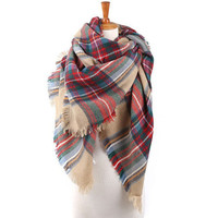 Multicolor Plaid Raw Edge Scarf Autumn Winter Gift