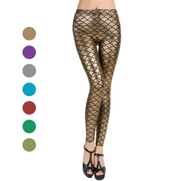 Lady Fish Scale Leggings Spring Autumn Summer Mermaid Yoga Pants Blue Gold Colorful Fake Leather Leggings #DO