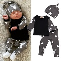 Cute Newborn Baby Girl Boy Clothes Deer Tops T-shirt Long Sleeve + Pants Casual Hat Cap 3pcs Outfits Set Autumn