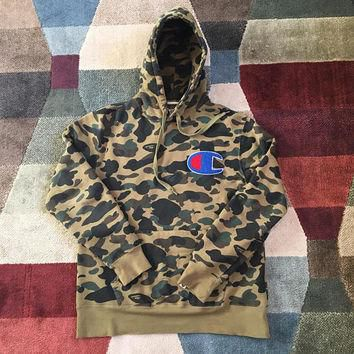 Bape x Champion Collab Hoodie ~ Bathing Ape Camo Hip Hop Sweatshirt ~TAGS: Polo Ralph