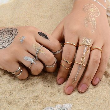 MISANANRYNE 6pcs/lot Fashion Jewelry Adjustable Gold-color Stacking midi Finger Knuckle Open rings Sets for women Jewelry Gift