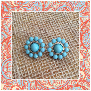 Jade Burst Stud Earrings - Turquoise Studs - Circle Jade Earrings - Teal Stud Burst Earrings - Turquoise Statement Jewelry - Teal Studs