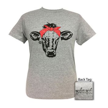 Girlie Girl Originals Paisley Bandana Cow Sport Grey Tee