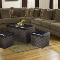 Storage Ottoman / Bench with weaved woven body & black faux leather lid (Set of Three)