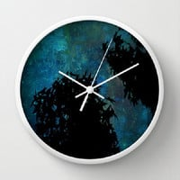 Blue, Trees, Sky, Stars - 10 Inch Round Wall Clock, 3 Frame Colors, Nursery, Dorm, Teachers Gift - Made To Order - NSIJ#76