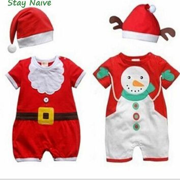 Cute Snowman/Santa Christmas Baby Costumes Romper Overall +Hat Children's Clothing Kids Suit Baby New Year Jumpsuits