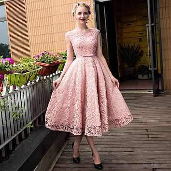 Pink Lace Short Evening Dress 2017 Long robe de soiree Evening Party vestido de festa Homecoming Dresses Bateau Sleeveless